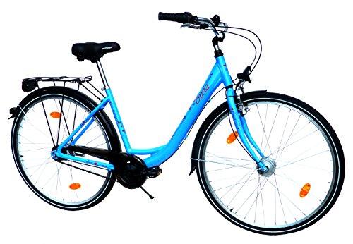 "BIRIA Damen Cityrad Citybike CTB 28"" Zoll (=71,1cm) 7 Gang SHIMANO Aluminiumrahmen Nabendynamo StVZO-Ausstattung hellblau Dekor: Schmetterlinge"