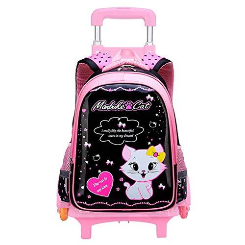 PROTAURI Kinderrucksack Trolley - Mädchen Jungen Schultasche Kinderrucksack Rolling Bookbag mit 6 Rollen -