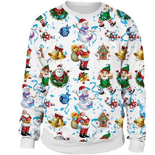 MTFS Damen Weihnachten Langarm Sweatshirts (Weihnachtself, XXL)