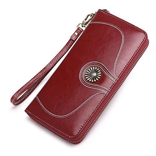 Vintage Echtes Leder Damen Geldbörse Lange Brifetasche Portemonnaie Frauen Clutch Geldbeutel mit Reißverschluss und Geschenkbox - Burgund Rot
