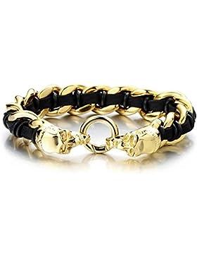 Gold Schädel-Armband Panzerkette Geflochtenes Leder-Armband für Herren aus Edelstahl und Schwarz Echtem Leder