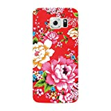 Samsung Galaxy S6 -NOVAGO Coque gel souple avec impression fantaisie (Fleur Rouge )