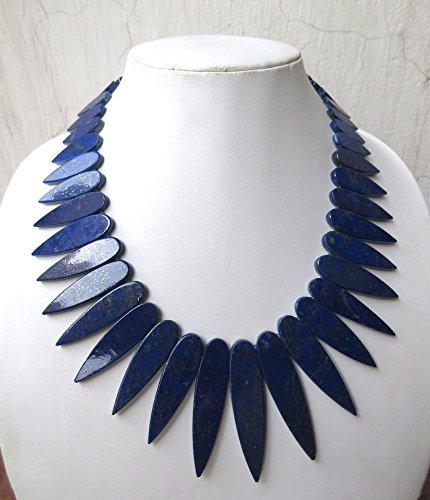 Naturel Bleu lapis lazuli Collier, DE mise en page Collier, collier plastron, collier de dégradé Collier, 18 x 7 mm pour 61 x 14 mm, 50,8 cm, Gds967