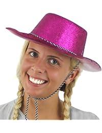 Pink glitter chapeau de cowboy. partie de poule, nuit de mâle fantaisie accessoire de robe