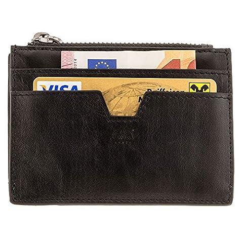 Designer Herren-Geldbörse mit Münzfach   hochwertiges Echtleder und Edelstahl   braun oder schwarz   Cardholder der Marke COWstyle® (schwarz)