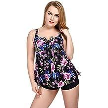 Mufly Bikini Mujer Bañadores Talla Grande Traje de Baño de 2 Piezas con Braguitas Cuello en V Color Flor Elástico