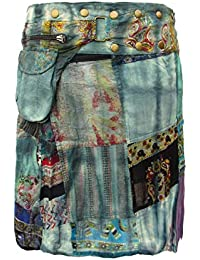 16058c0811a007 Wicked Dragon New Women's Mid Length Patchwork Wrap Skirt with Pixie Belt  Bag Blue