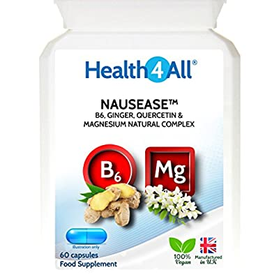Health4All Nausease Capsules | Natural nausea support | Morning sickness | Travel sickness | 100% VEGAN | Free UK Delivery | Unique natural formulation of Ginger, Quercetin, Vitamin B6 and Magnesium from Health4All