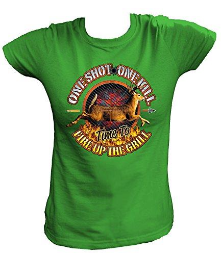 Artdiktat Damen T-Shirt - ONE SHOT - ONE KILL, TIME TO FIRE UP THE GRILL Größe XXL, grün
