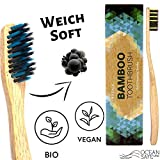 Bamboo Toothbrushes with Charcoal Bristle - Soft, Biodegradable Sustainable Wooden...