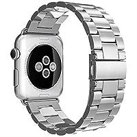 Simpeak Cinturino Sostituzione per Apple Watch 42mm in Acciaio Inossidabile con chiusura pieghevole,Cinghia di Polso,Fibbia di Metallo per Tutti i Modelli Apple Watch 42mm di Series 1 2015 & Series 2 2016