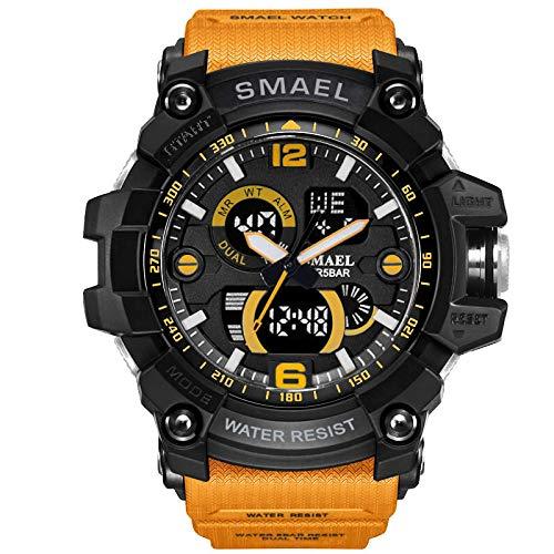 armbanduhr for herren Doppelanzeige Sportuhr Herren Marke Digital Armbanduhr LED Elektronische Herrenuhren(Orange)