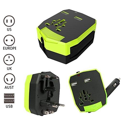 Universal World Travel Adapter mit 2USB Ports für Handy/Tablet/Kamera/Laptop/Rasierer Best All in One International Travel Plug Adapter Power Wall Ladegerät US/UK/Australien/Europa mit KFZ-Ladegerät