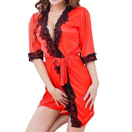 Sansee Sexy Nachtwäsche Damen Mode Frauen Sexy Musselin Spitze Unterwäsche Gewürz Versuchung Unterwäsche (Rot, Freie Größe)