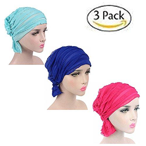 Mützen Schals Und Krebs, (ZYCC Chemo Krebs Kopf Schal Hut Mütze Ethnische Stoff Druck Turban Kopfbedeckung Frauen Rüsche Beanie Schal Muslim Kopftuch Packung mit 3(Gruppe 3))