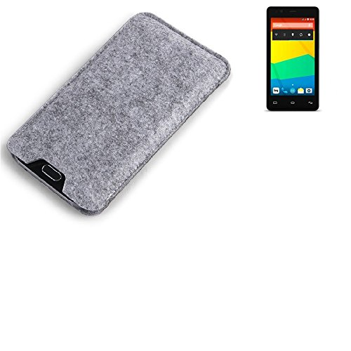 K-S-Trade Filz Schutz Hülle für BQ Readers Aquaris E4.5 Schutzhülle Filztasche Filz Tasche Case Sleeve Handyhülle Filzhülle grau