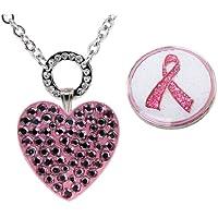Navika Glitzy und in der Magnetischer Herz Halskette mit Swarovski Kristall, Rosa, Rosa Schleife Ball Marker