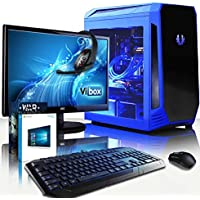 "VIBOX Precision 6.35 Gaming PC Computer with Game Voucher, Windows 10 OS, 22"" HD Monitor (4.0GHz AMD FX Quad-Core Processor, Nvidia GeForce GT 710 Graphics Card, 32GB RAM, 120GB SSD, 3TB HDD)"