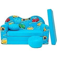 WELOX b11 KindersofaBettfunktion3in1-Kindersessel,Ausziehbett,hellblaukleineAutos, Eierschalenfarbe