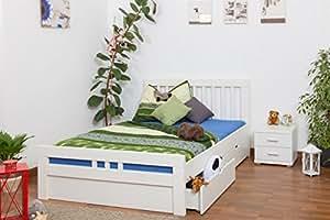 """Bett mit Stauraum""""Easy Möbel"""" K8 inkl. 4 Schubladen und 2 Abdeckblenden, 140 x 200 cm Buche Vollholz massiv weiß lackiert"""