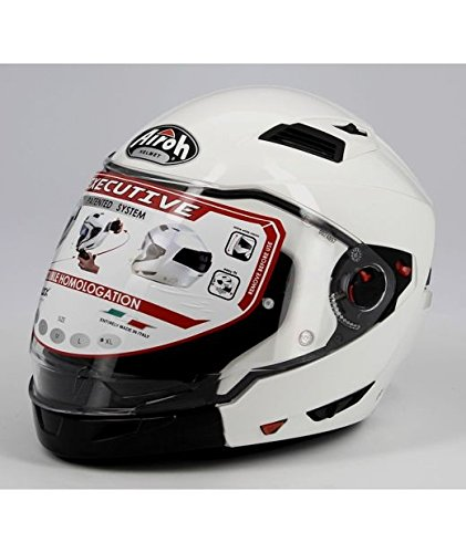 Airoh Crossover Executive – Casco con visera doble, tamaño S, color blanco