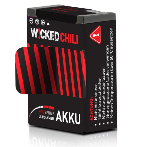 Wicked Chili 1180 mA Akku für GoPro Hero 3+/3 (Pro Series, 3.7 V/4.37 W/1.18A, Aufnahmezeit bis zu 118 Minuten, ersetzt AHDBT-302/AHDBT-301)