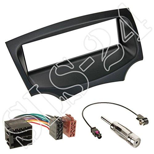 Einbauset : Autoradio 1-DIN Radioblende Radio Blende Halterung schwarz + ISO Radioanschlusskabel Radio Verlängerung Adapter + Fakra Antennenadapter für Ford Ka (RU8) ab 08/2008