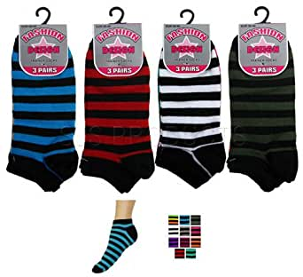 NEW 3 Pairs of Womens Striped Trainer Socks