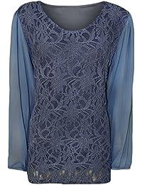 WearAll - Damen Übergröße schnüren gefüttert sheer langarm chiffon tunika partei Top - 6 Farben - Größe 42-56