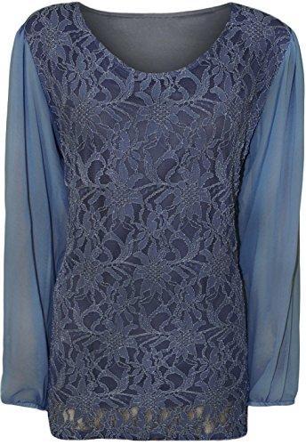 Fashion 4 Plus Plus pour femme en dentelle avec manches longues en mousseline pour femme Tunique Top.UK 14–28 Bleu - Bleu