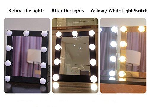 Schminkspiegel TOUCH Bildschirm mit 9Big-LED-Leuchtmittel Beleuchtete Spiegel Adjustbale Helligkeit - weiß - 2