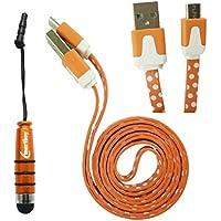 Emartbuy® Polka Dots Range Duo Packfür Tolino Shine 2 HD 6 Zoll eReader - Orange Metallic Mini Eingabestift + Polka Dots Orange/Weiß Flaches Knotenfreies Micro USB Daten und Ladekabel