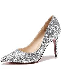 MUYII Damen Silber Pailletten High Heels Braut Hochzeit Schuhe Kristall SchuheSilverA-9.5cm-33