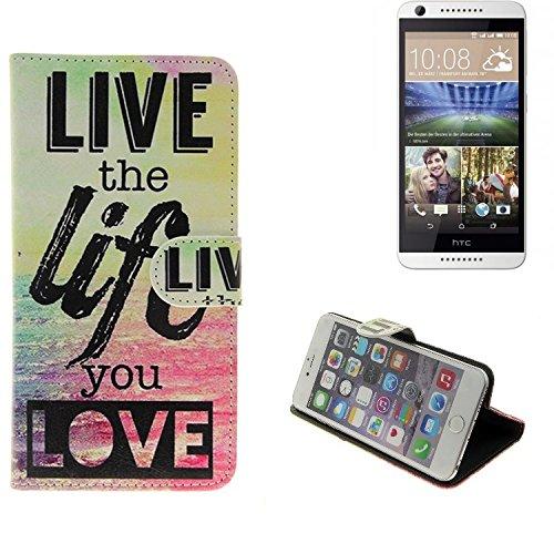 K-S-Trade® Für -HTC Desire 620G Dual SIM- Schutz Hülle 360° Wallet Case ''live Life Love'' Schutzhülle Handy Tasche Handyhülle Etui Smartphone Flip Cover Standfunktion (1x)