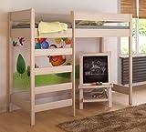 Etagenbett Hochbett verschiedene Holzfarben Variantenauswahl Jugendbett-HUGO Fronteingang (80 x 160 cm, Eiche)