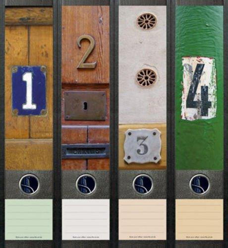 4er Set Ordnerrücken für breite Ordner Türen Hausnummern Aufkleber Etiketten Deko 058