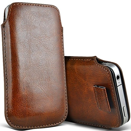 Price comparison product image I-Sonite (Brown) Premium Slip In Pull Tab Sleeve Faux Leather Pouch Case Cover For Motorola Moto G7 Plus [XXXL]