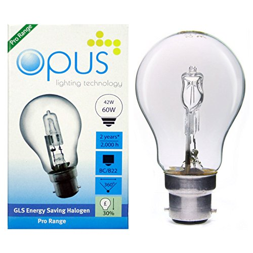 5 x Opus 42w = 60w GLS BC B22 Bayonet Cap Long Life Clear Eco Halogen Light Bulbs Dimmable Energy Saving Lamps Pack