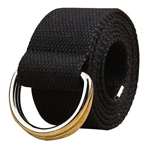 AYG Fashion Stoff Unisex Double Loop Schnalle Casual Long Weave Leinwand Gürtel Mit 38Farben Gr. Large, schwarz