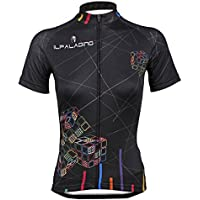 Kranchungel Women's Breathable Cycling Jersey Cube Pattern Shirt Short Sleeve
