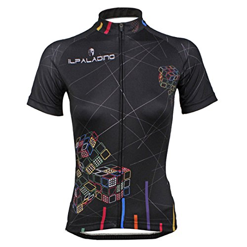 Women's Short Sleeve Cycling Jersey Jacket Moisture Wicking Outdoors Sports Shirt Quick Dry Breathable Mountain Clothing Bike Top Black Cube Decoration Multicolor X-Large (Sleeve Jersey Lady Short Cycling)