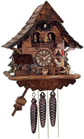 River City Clocks One Day Musical Cuckoo Clock Cottage with Boy on Rocking Horse, Moving Waterwheel and Dancers