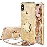 OCYCLONE iPhone XS Max Hülle, Glitzer Handyhülle iPhone XS Max Schutzhülle mit Ring 360 Grad Ständer, Diamant Glitzer Sparkly Case für Mädchen Frauen iPhone XS Max Hülle 6,5 Zoll - Gold