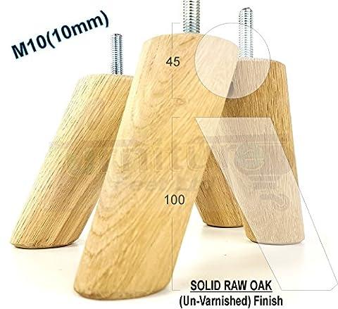 Lot de 4pieds de meubles en chêne massif pieds en bois–Hauteur 100mm–Canapés, chaises, canapé,