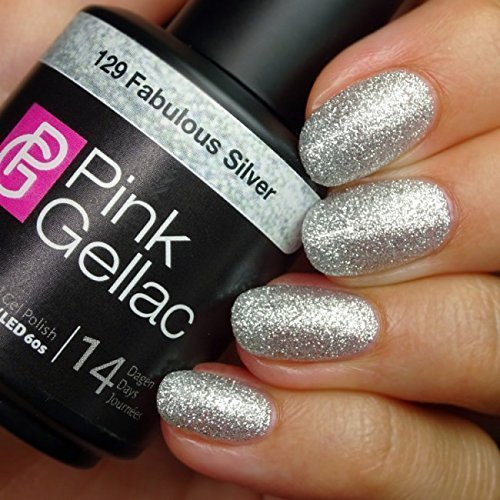 Pink Gellac 129 Fabulous Silver UV Nagellack. Professionelle Gel Nagellack shellac für mindestens 14 Tage perfekt glänzende Nägel (Nagellack Shellac Silber)