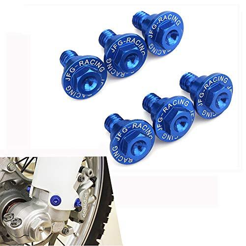 JFG RACING 6 pcs CNC Moto Fourche Guard Boulons Vis pour Yamaha Yz125 Yz250 YZ250 F Yz450 F 08-18, Yz125 X 17-18, Yz250 X Yz450fx 16-18, Yz250fx 15-18 (Bleu)