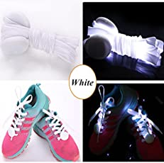 Jern Cool Fashion Light up Led Shoelaces Flash Party Skating Glowing Shoe Laces for Boys Girls Fashion Self Luminous Shoe Strings (White)