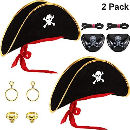 SATINIOR 6 Stücke Piratenhut Kostüm Schädel Drucken Piratenkapitän Kappe mit Augenklappe und Kunststoff Piratenohrring für Halloween Maskerade Party Cosplay Hut Prop