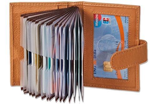 XXL 23 Fächer Kreditkartenetui Kartenetui Visitenkartenetui Natur Leder
