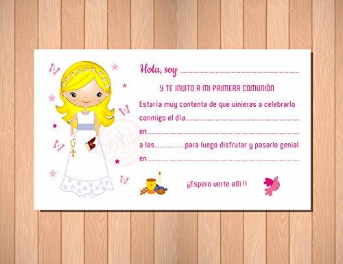 Invitaciones de Primera Comunión niña. Elegantes, Límpias y Bonitas para ...